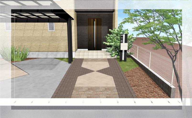 【エクステリアご提案図面】ネイティブ柄のラグマットのようなアプローチのあるエクステリア<つくば市 T様邸>