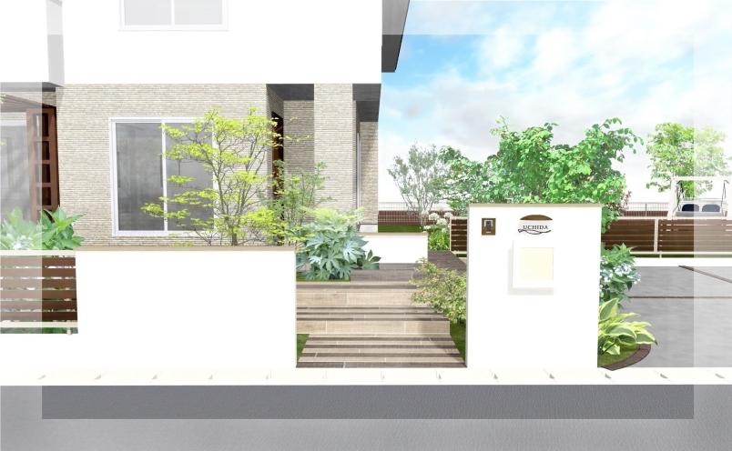 【エクステリアご提案図面】ウッドと純白の壁のコントラストが美しいナチュラルモダンエクステリア<阿見町 U様邸>