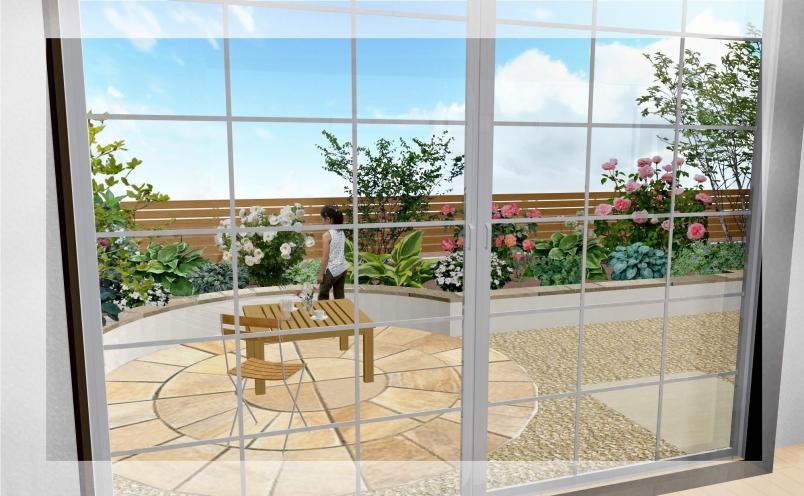 【エクステリアご提案図面】イングリッシュテイストのプライベートな空間と直線を基調としたアプローチの対比が鮮やかなエクステリア<つくば市 S様邸>