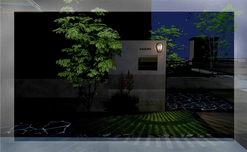 エクステリアご提案図面】自然石の乱張りアプローチ・斑入りのシンボルツリーを、印象的な光で演出するエクステリア<つくば市 K様邸>