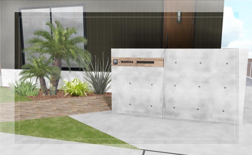 【エクステリアご提案図面】コンクリートの質感が映えるインダストリアルテイストのエクステリア<つくば市 M様邸>